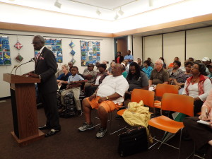 Bladen County Commissioner Aurthor Bullock at the public meeting