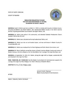 Resolution submitted by Bladen County Commissioners in 2014.