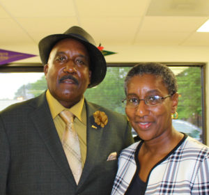 BCC Board Chair Dennis Troy stands with Commencement Speaker Ann Garrett at Basic Skills Graduation Ceremony.