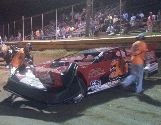Jeremy Cumbee's Late Model car damaged