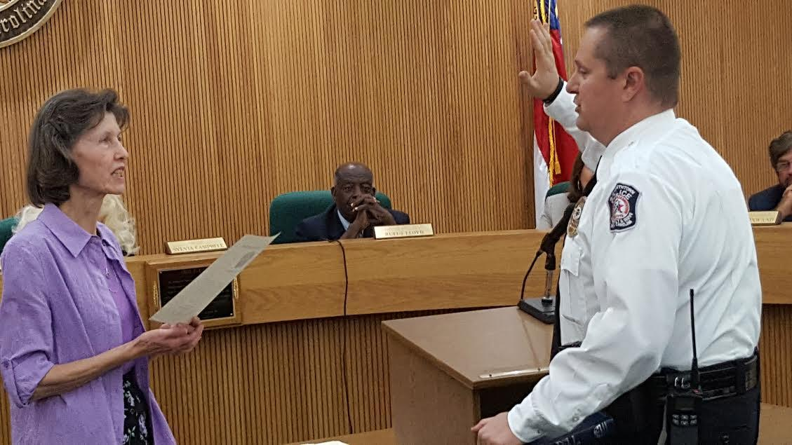 Police Chief Tony Parrish presented Officers 2