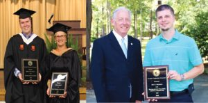 Bruce Blansett and Tiina Mundy are recognized during BCC Convocation. William Findt presents award to Jim Brisson.