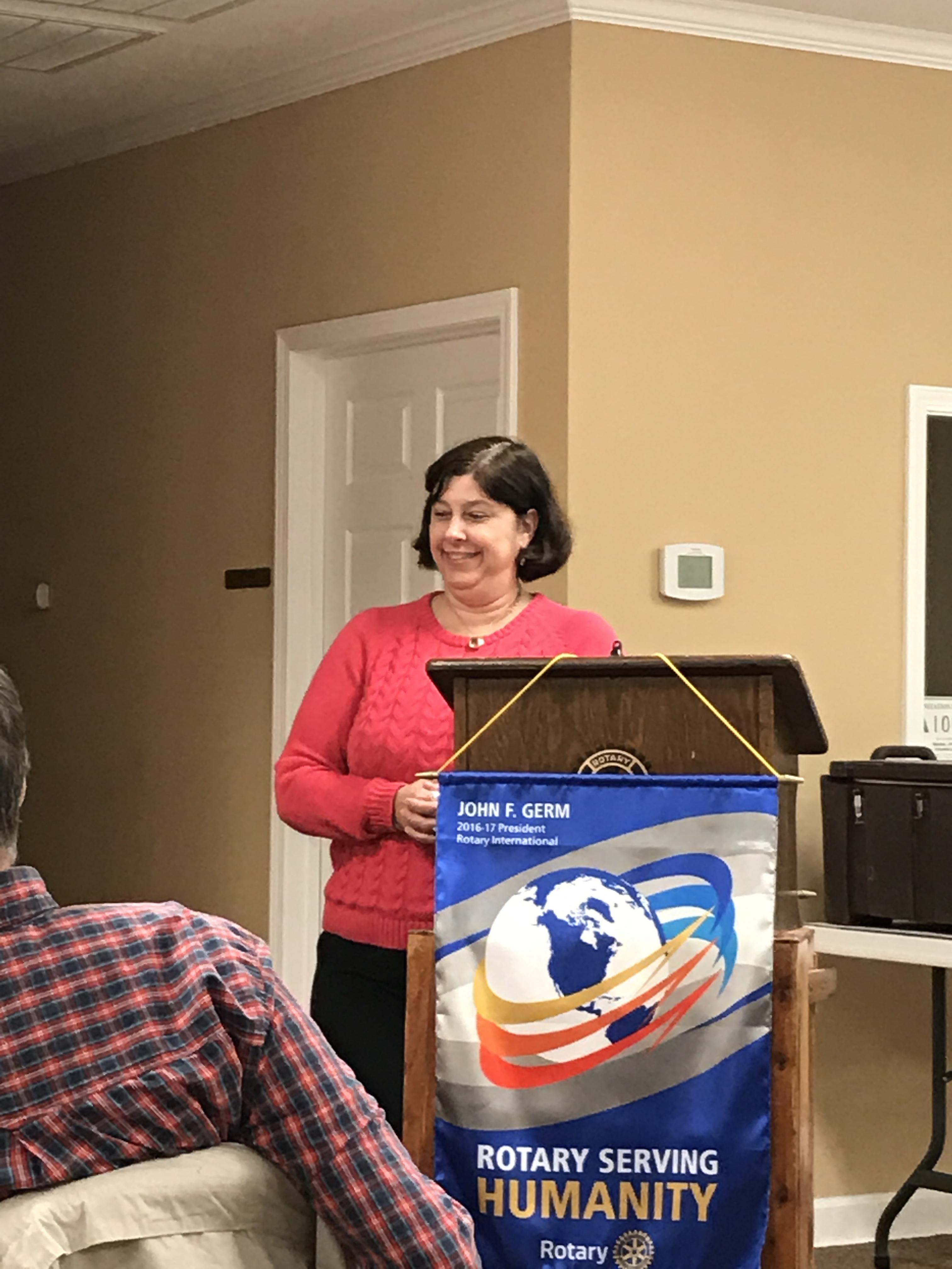 Erin Smith at Bladenboro Rotary meeting