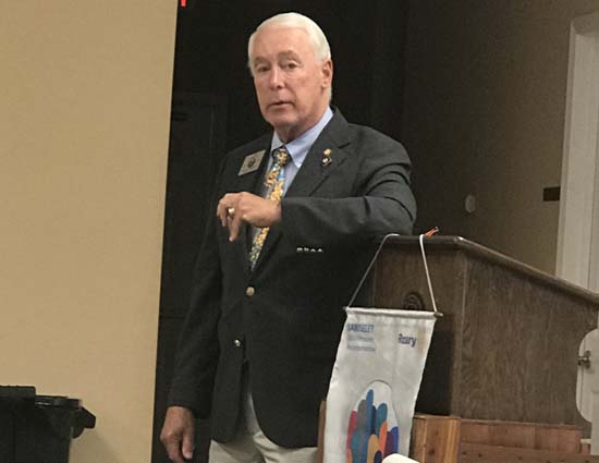 Rotary International District Gov. R.B. Rickey speaks to the Bladenboro Rotary Club