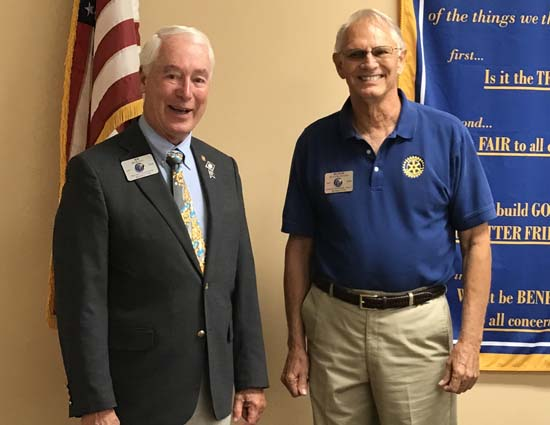 Rotary District Gov. R.B. Rickey, left, and Asst. Gov. Butch Blanchard