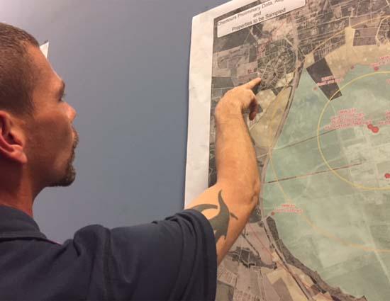 Tony Callaway checks map