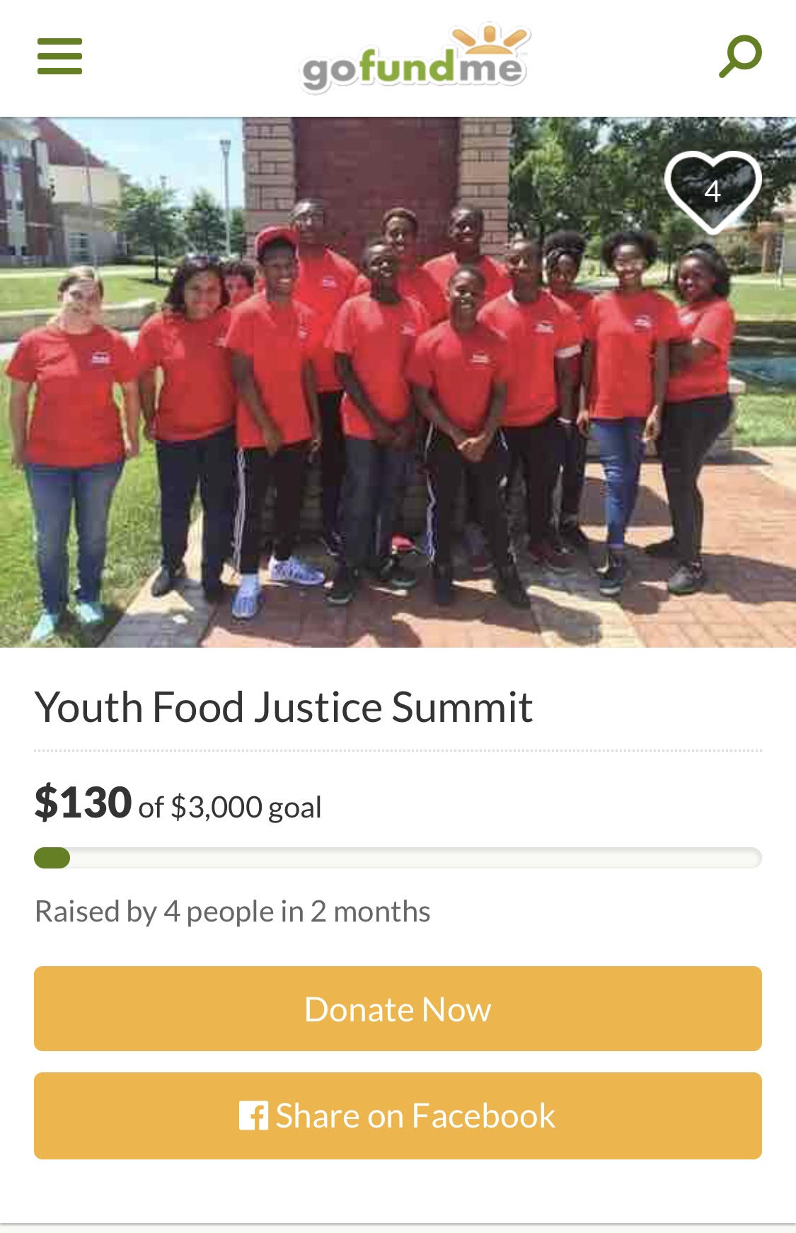 Go Fund me for youth food justice summit