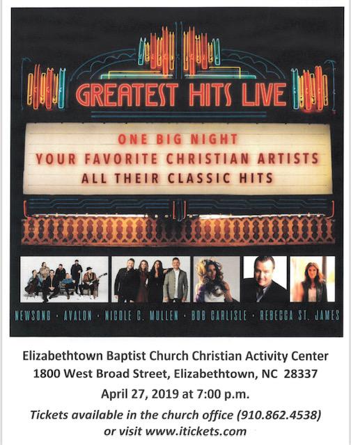 Greatest Hits live at Elizabethtown Baptist remove April 27
