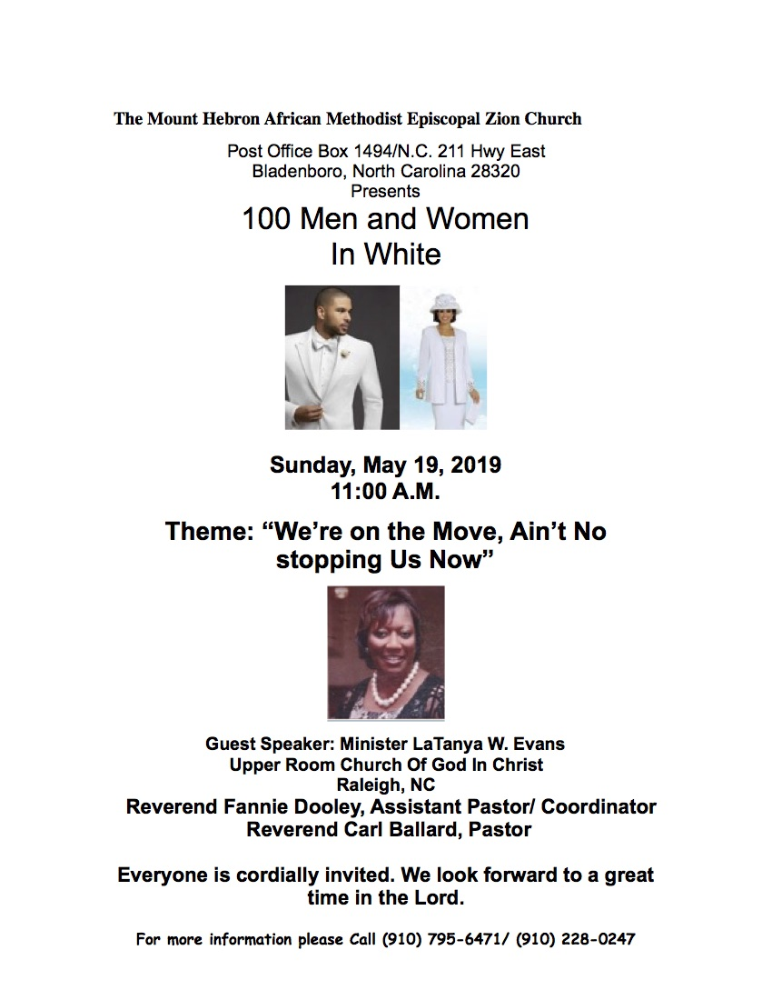 19 flyer for 100 men & women in white remove May 19