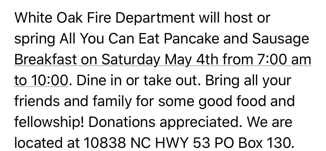 May 4 Pancake Breakfast in White Oak