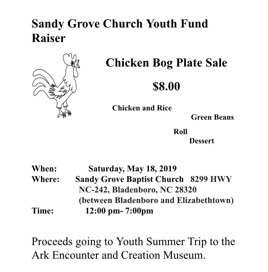 Sandy Grove Church Youth Fund Raiser