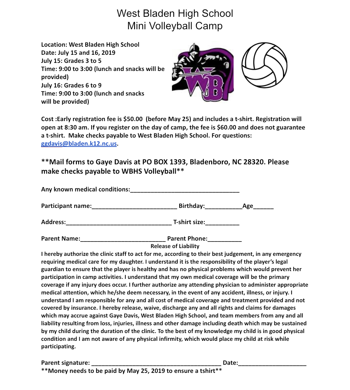 West Bladen High School Mini Volleyball Camp