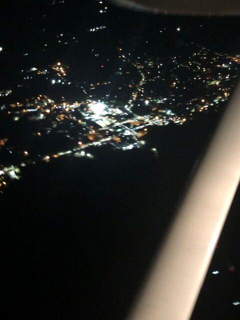 Elizabethtown in the air after dark aviation plane