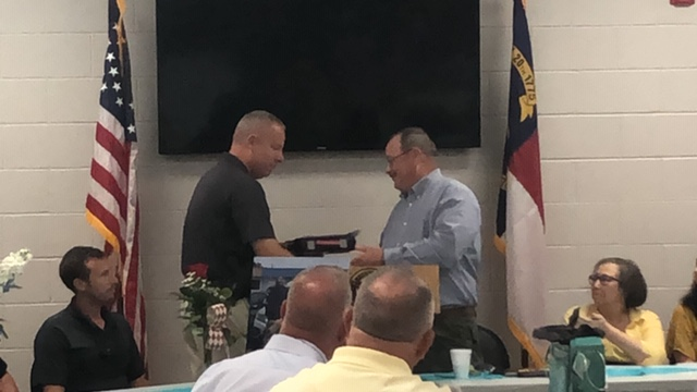 Bladen County Sheriff Major Larry Guyton of Bladen County retires Jeff Singletary