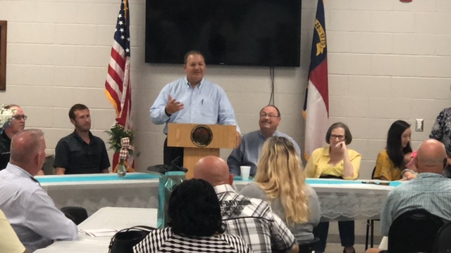 Bladen County Sheriff Major Larry Guyton of Bladen County retires Rodney Warwick