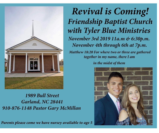 Nov 3 Revival Friendship Baptist