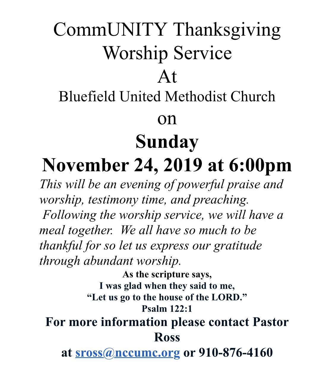 Bluefield UMC Community Thanksgiving Service