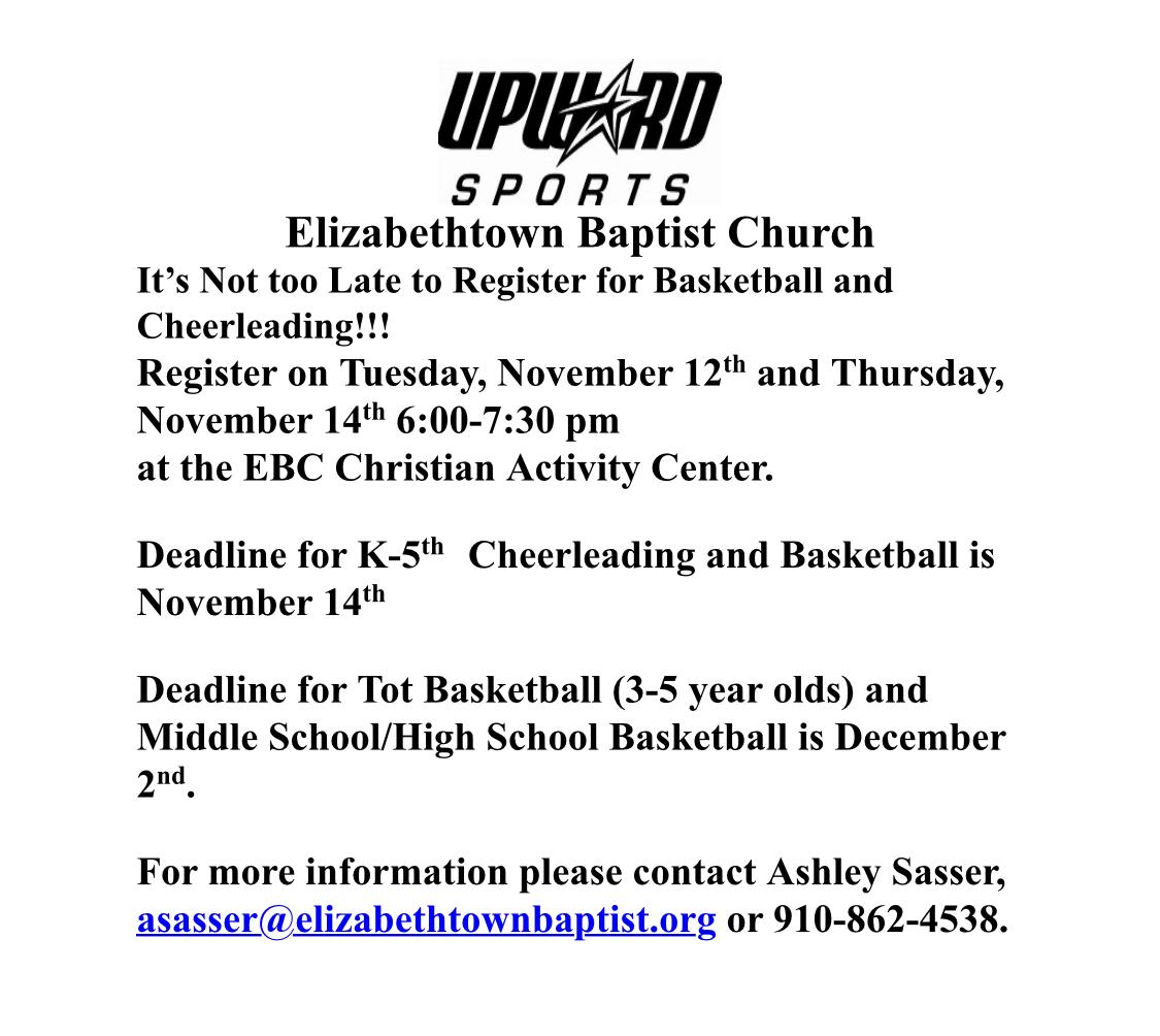FW upward flyer from Elizabethtown Baptist Church