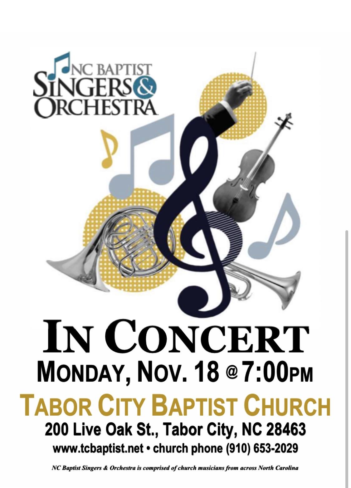 NC Baptist Singers & Orchestra at Tabor City Baptist Church, Monday, November 18, 2019