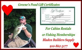 Greenes Pond Gift certificate